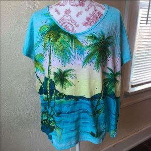 Onque Woman Tropical Scene Sparkly T-shirt 2XL